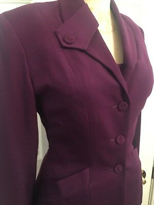 Vintage Norma Kamali~Dress And Jacket~100% Wool~Eggplant Color~ Women's Size 2