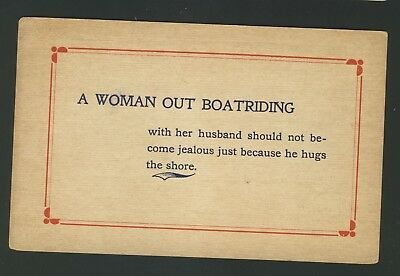 Old Vintage A Woman Out Boatriding Comic Postcard