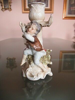 Vtg Antique German Dresden Figural Porcelain Candle Holder Figurine Hp Gilded