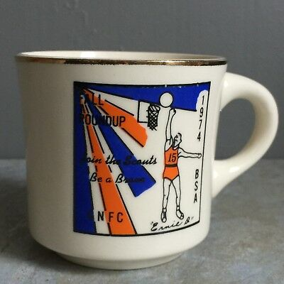 Vtg 70s BSA Fall Round Up Be A Brave Ernie D Basketball Mug