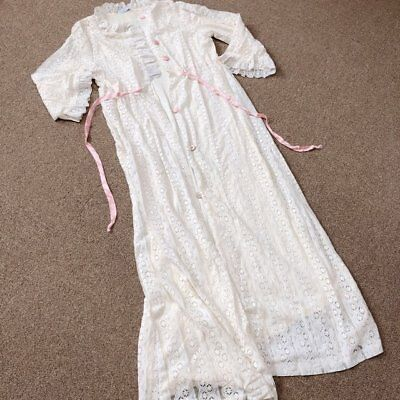 Vintage JC Penney Ivory Lace Floor Length Dressing Gown Robe Peignoir Bed Jacket