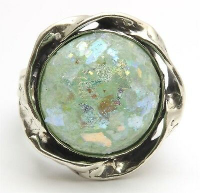 PZ Or Paz Israel Sterling Silver Large Floral Ancient Roman Glass Dome Ring 925