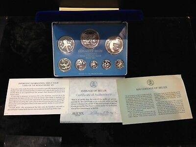 1976 Belize Silver 8 Coin Sterling Silver Proof Set Franklin Mint Box & Coa