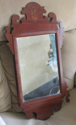Antique Mahogany Chippendale Wall Mirror - Bell Flower Inlay - As Found