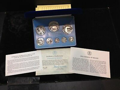 1981 Belize Silver 8 Coin Sterling Silver Proof Set Franklin Mint Box & Coa