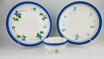 LL Bean Blueberry Lot 3 Pcs Large Serving Bowl w/ Dinner Plate & Cereal Bowl