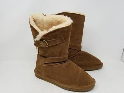 WOMEN'S BEARPAW TATUM TATUM TATUM Braun Slip On Suede Fur Wool Sheepskin Winter 795cbb