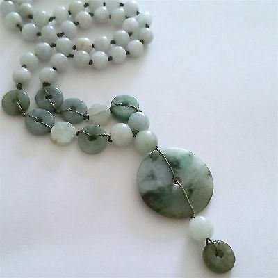 Lovely Natural Jade Jadeite Necklace With Round Pendant, 20""