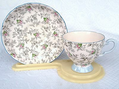 TUSCAN 8639 Bone China Tea Cup & Saucer Pink Roses with blue /chintz (307)