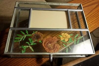 Vintage Leaded Stained Glass Jewelry Box w picture holder & dry flowers embedded