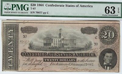 T-67 PF-11 $20 Confederate Paper Money 1864 - PMG Choice Uncirculated 63 EPQ!
