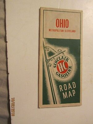 1937 Ohio Metro Cleveland Road map From Sinclair Gasoline Published Rand-McNally