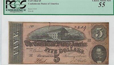 T-69 PF-11 $5 1864 Confederate Paper Money - PCGS Choice About New 55!