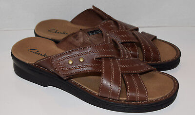 Clarks size 8M Women's Brown Leather Open Toe Sandals 37334 Slides Shoes
