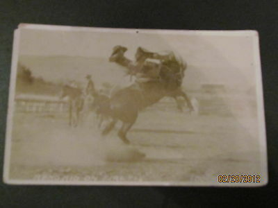 "Real Photo-Circa 1920's-1930's- Bucking Bronco Cowboy- ""reno Kid On Firefly"""