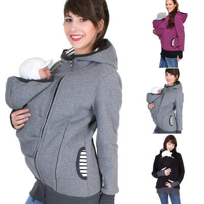 Women Maternity Striped Baby Carrier Hoodie Kangaroo Zipper Pregnancy Coat Tops