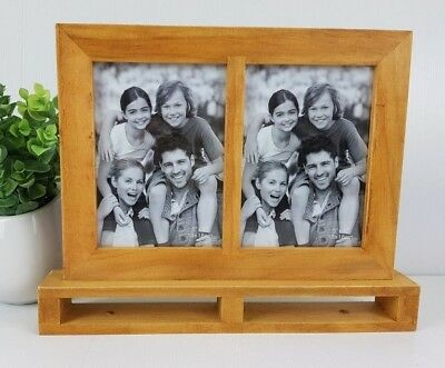 """Plain wooden standing twin photo frame 