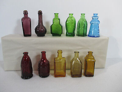 Wheaton Glass Bottles Mini Set of 11 Vtg 1970 Old Docs Corn Fish Purple Blue