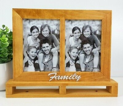 "Wooden standing ""FAMILY"" twin photo frame 