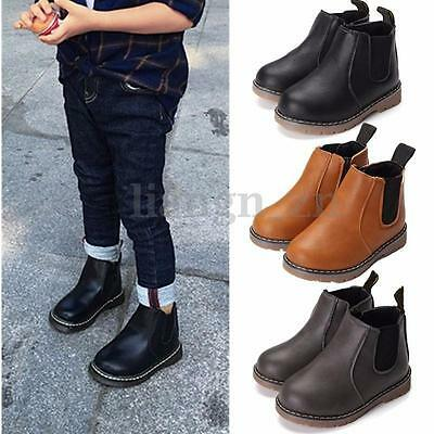 AU New Boys Girls Leather Chelsea Ankle Boots Winter Autumn Pull On Flat Shoes