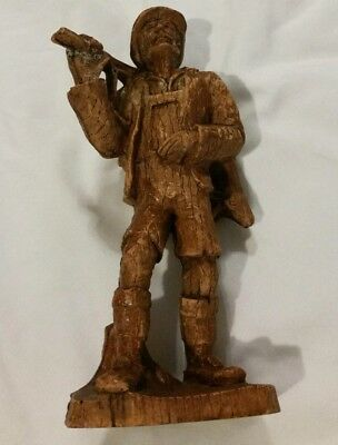 SIC Marked Hand Carved Wood Wooden Hjnter Man Carrying Deer France