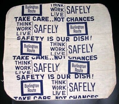 CHICAGO BURLINGTON & QUINCY RAILROAD ~ DINING CAR DISH RAG ~ SAFETY is our DISH!