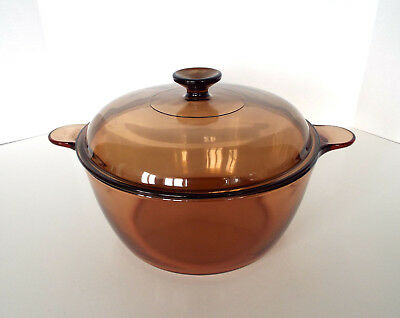 PYREX VISIONS COOKWARE Amber Corning 5 QT Glass Covered Stock Pot USA Made