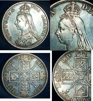 Great Britain UK , Double Florin  1887. ARABIC 1