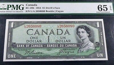 Pmg 65 Gem Uncirculated   .   Bank Of Canada 1954 $1 .world Famous Devils Face