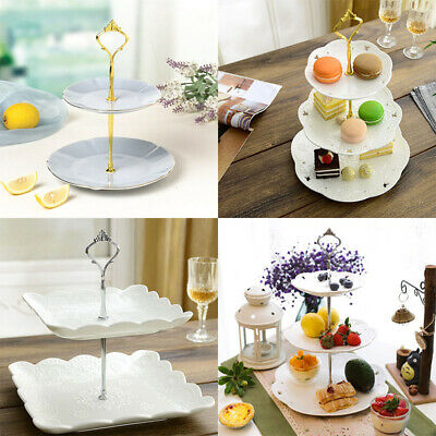 2/3 Tier Cake Stand Afternoon Tea Wedding Plates Party Tableware Embosse Home