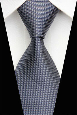Gray Stripe Man Classic JACQUARD Woven Business Necktie Men's Tie Casual New