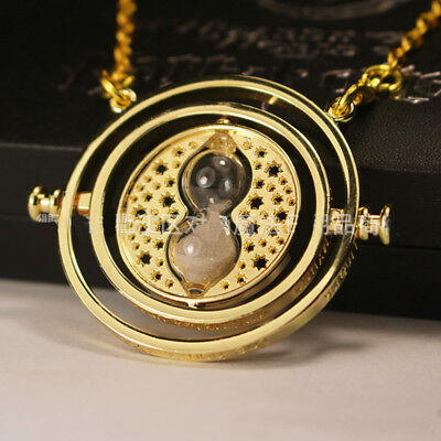Harry Potter Time Turner Hermione Granger Rotating Spins Hourglass Necklace 18K