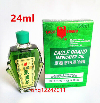 Eagle Brand Medicated Oil 0.8 Oz - 24 ml (1 Bottle) Dau Xanh Con O鷹標德國風油精