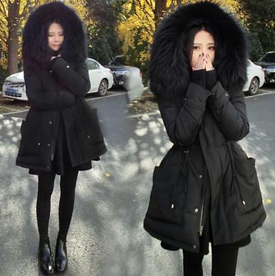 Women's Girls Black  Duck Down Fur Hooded Winter Warm Coat Large Pocket Size