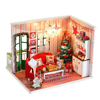 Xmas Gift DIY Wooden Toy Doll House LED Light Miniature Kit Dollhouse Xmas Tree