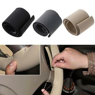 DIY Car Truck PU Leather Steering Wheel Cover With Needles and Thread 3-colors