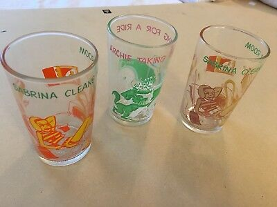 3 Vintage Veronica Glasses From Archie Cartoon