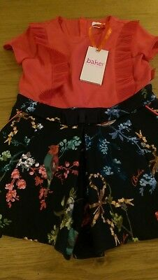 Ted Baker Girls Pink Floral Print Playsuit Age 2-3 Years New