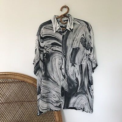Mens Vintage Designer Short Sleeve Shirt Size L Made In Australia Marble Print