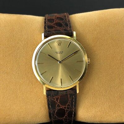 Rolex 3602 Cellini Geneve Brushed Yellow Gold Dial 18k Yellow Gold, 1970 +Box