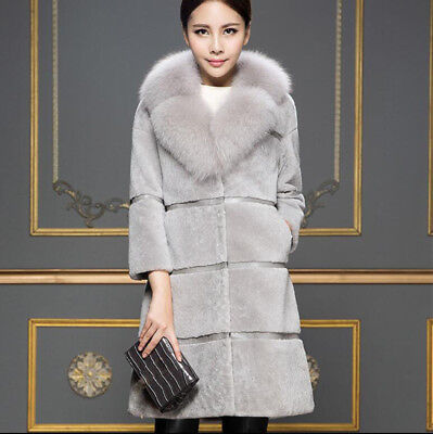 V Collar Winter Outwear Womens New Mid Long Thick Faux Fur Parka Coat Solid