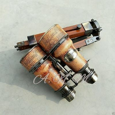 Binoculars with wooden Tripod Leather Covered Maritime Gift