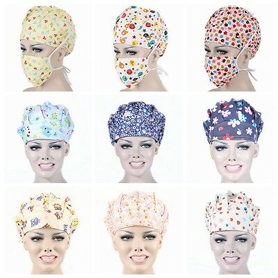 Men's Women's Doctor Nurse Printing Scrub Cap Mask Medical Surgical Surgery Hat