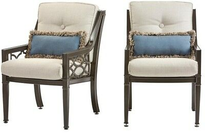 Rocking Dining Chair Outdoor Acrylic Aluminum Hybrid Smoke Cushions (2-Pack)