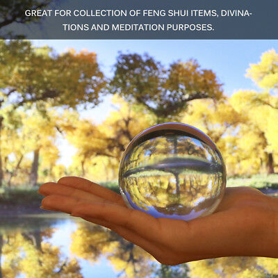 Clear Glass Crystal Ball Healing Sphere 80mm Lensball Prop Photography Decor