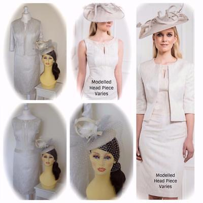 John Charles 25972 Mother of the Bride Outfit, White Gold, UK18 & Fascinator