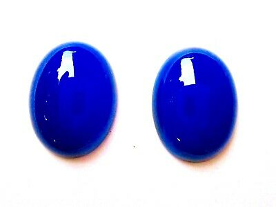 Pair of Big 20x14 Oval Shape 23 Ct. Blue Onyx