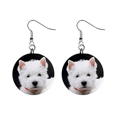 WESTIE Dangle EARRINGS Westy Dog Puppy Face For Girl Women Lover Gifts Stuff