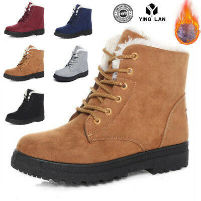 Women Winter Martin Snow Ankle Boots Ladies Lace Up Flat Fur Lined Shoes Size UK