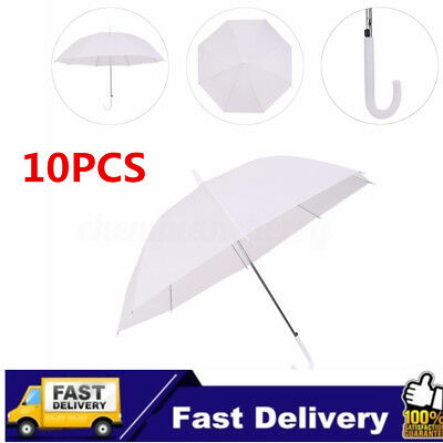 10X Dome White Umbrella Large Clear Scrub Parasol Sun Rain Walking Wedding Party